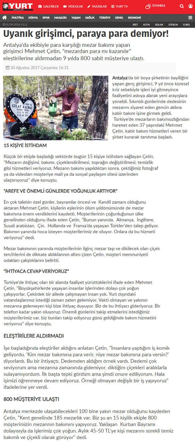صحيفة يورت 2017 Antalya Kabir Bakımı Mezar Yapımı