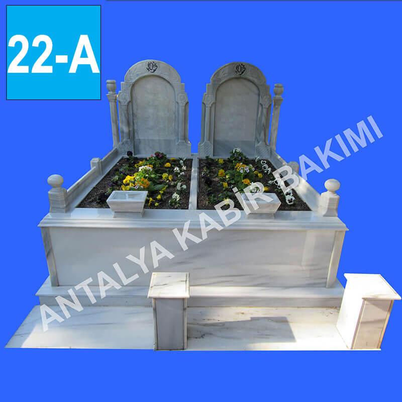 Üç Katlı, Özel Desenli, Marmara Mermer, Blok Baş Taşlı Mezar Modeli 22 - A