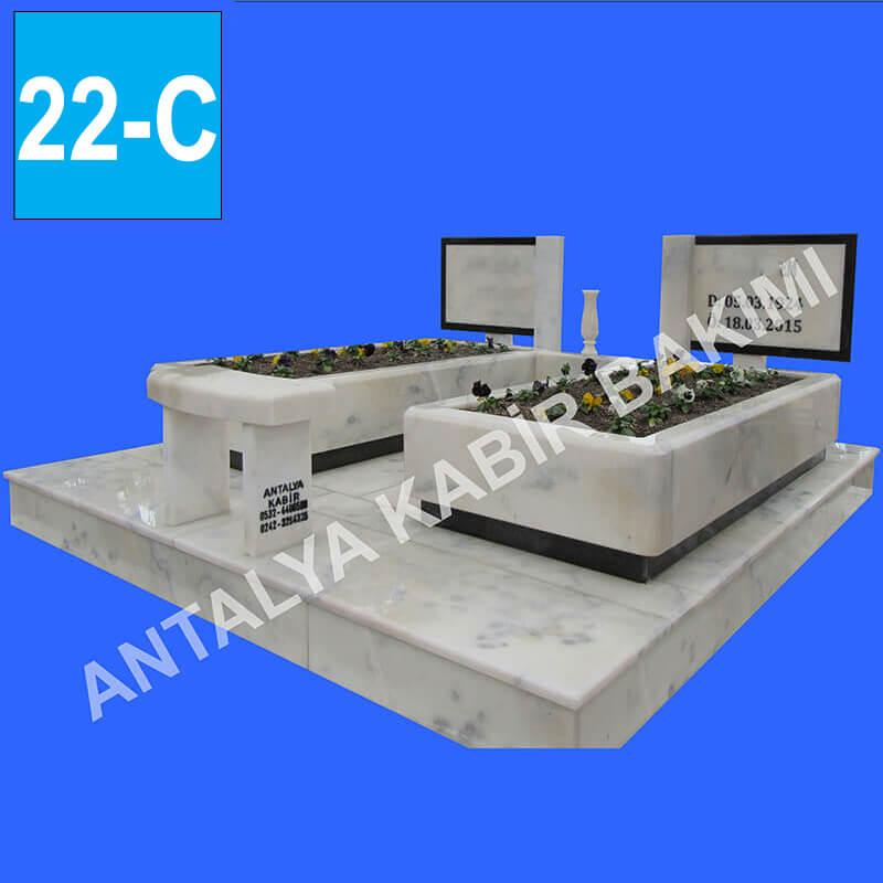 Blok Beyaz Mermer İkili Mezar Modeli f