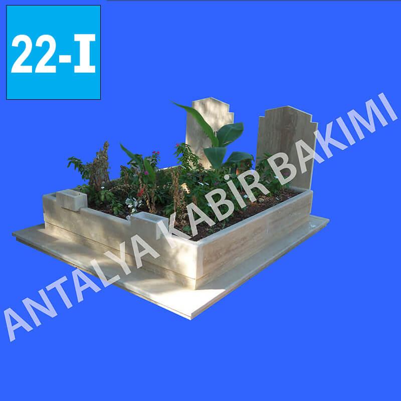 Traverten Kalın Taşlı İki Kişilik Mezar Modeli 22 - I
