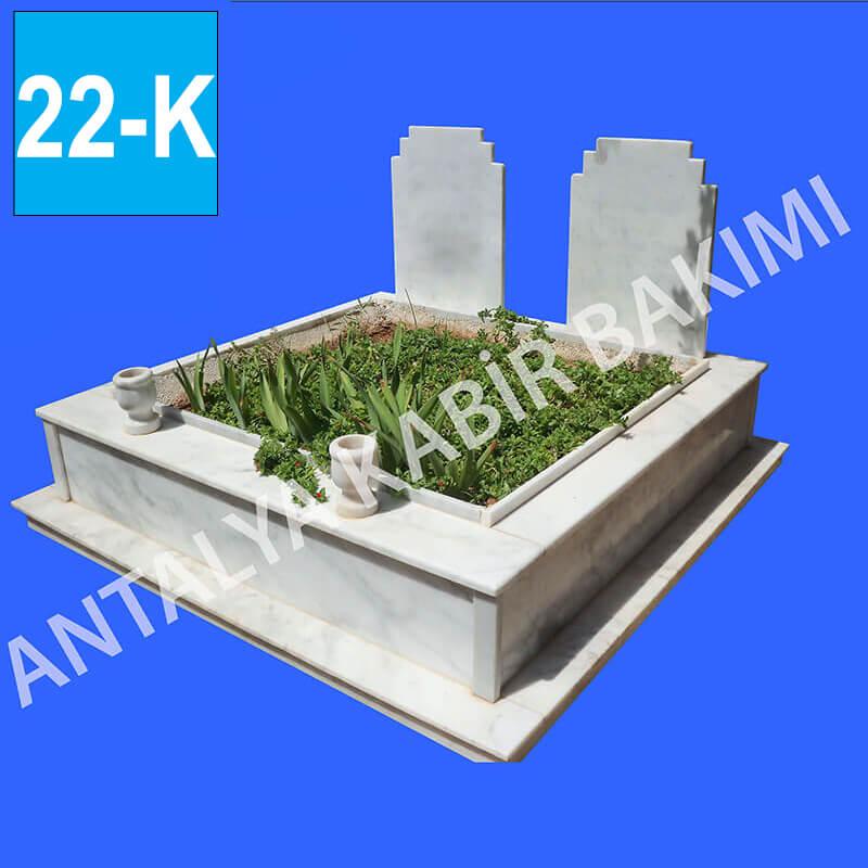 İkli Beyaz Mermer Mezar Modeli 22 - K